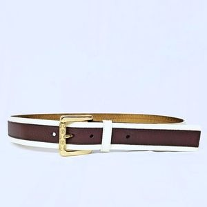 NWT Genuine lather Mk brown and white belt small